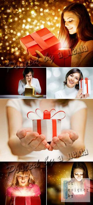 Фото сток - девушка с подарком / Stock Photo - Woman with Gifts 2