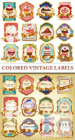 Colored vintage labels