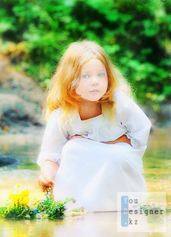 Шаблон для фотомонтажа-Светловолосая девочка у реки / Template for the photomontage-the Blonde girl at the river