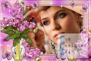 Цветочная рамка для фотошоп - Нежность фиолетовых орхидей