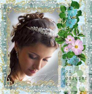 Цветочная рамка для photoshop - Кружевная голубая / Flower frame for photoshop - Blue and lacy