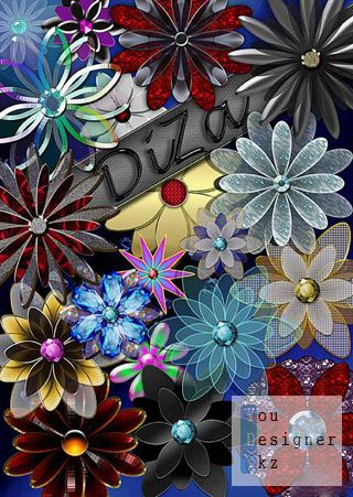Клипарт - Декоративные цветы / Сlipart - Decorative flowerses