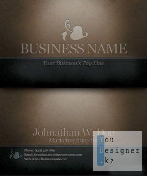 Темные стильные визитки. Engraved dark classic business card
