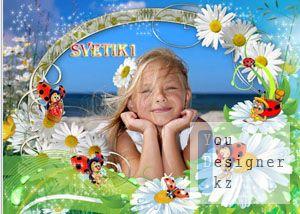 Детская рамка для фото - Божьи коровки и ромашки / Children photo frame - ladybirds and camomiles