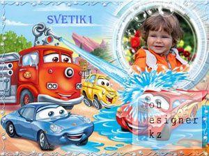 Детская рамка для фото - Тачки / Baby photo frame - Cars