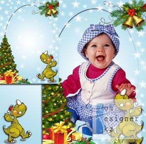 Детская рамка с дракончиком - Новый год к нам идет / Children's frame with little dragon- New year is coming