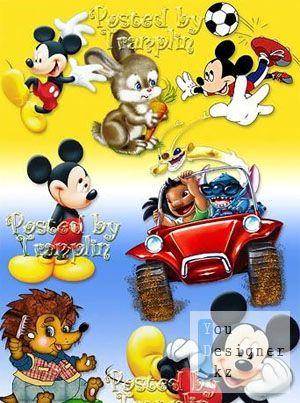 Детский клипарт – Микки, ежик, зайчик / Baby clipart - Mickey, hedgehog, hare