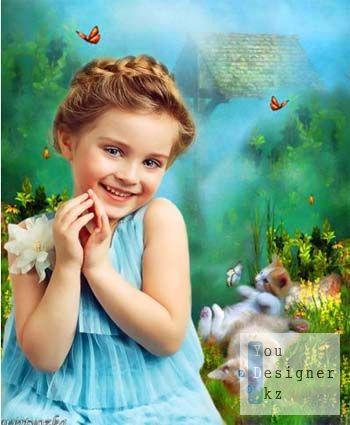 Детский шаблон - Маленькая девочка с озорными котятами / Children template - Little girl with funny kittens