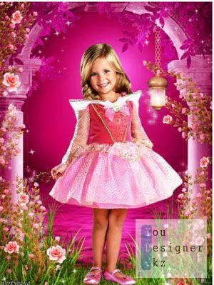 Детский шаблон для фотомонтажа- Маленькая принцесса в стране чудесных роз / Children's template - the Little princess in the country of wonderful roses