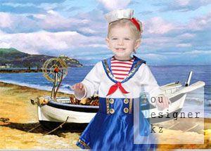 Детский шаблон для фотомонтажа - Морячка / Children's template for photoshop - little swabbie