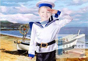Детский шаблон для фотомонтажа - Морячок / Children's template for photoshop - Little Sailor