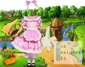 Девочка в деревне - Красивый шаблон для оформления фото Вашего ребенка