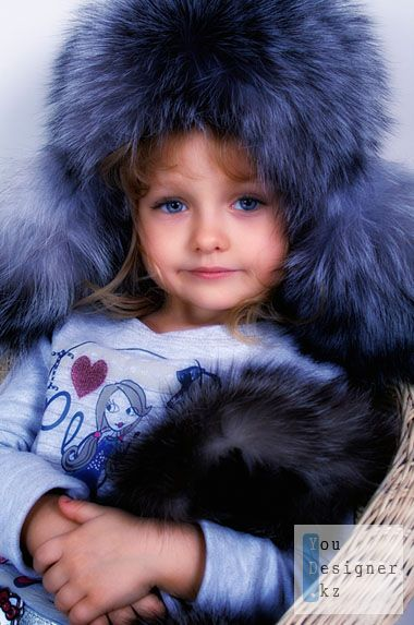 Template for photoshop - Girl in fur