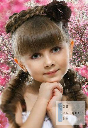 Детский шаблон - Девочка в весеннем цветении