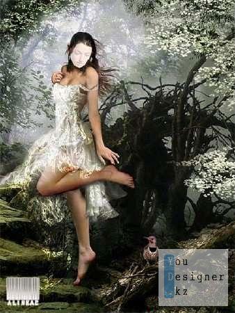 Шаблон для фотомонтажа - Девушка в лесу