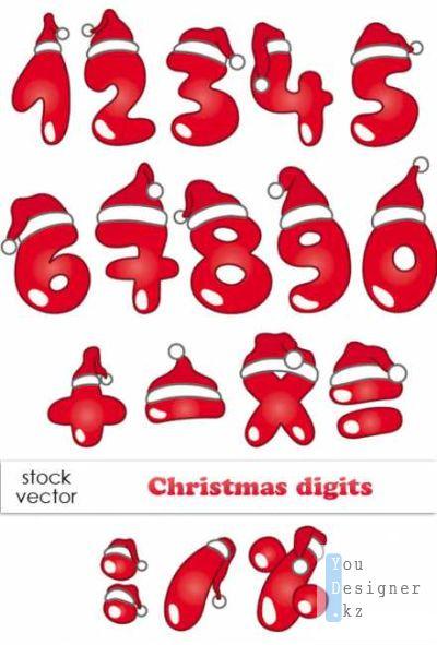 Векторный клипарт - Christmas Digits