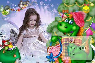 Детская рамочка с новогодним дракончиком / Children's frame with the new year dragon
