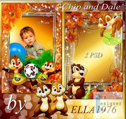 Две детские рамки с героями диснеивских мультфильмов- Chip and Dali