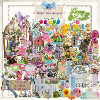 Cкрап-набор – Цветная пасха и весна / Scrap kit - colourful Easter and spring