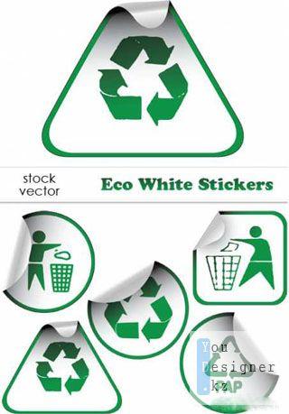 Векторный клипарт - Экологические векторные стикеры / Eco White Stickers