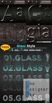Стили для фотошоп Elegant glass transparent lucid shiny layer style