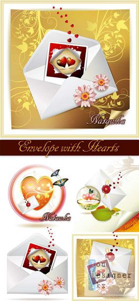 Envelope with Hearts - Stock Vector