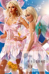 Женский шаблон для Photoshop - Фея цветов