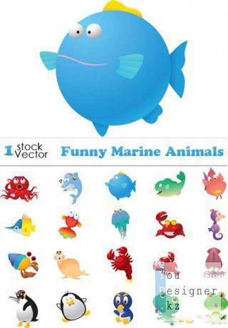 Векторные смешные морские животные / Funny Marine Animals Vector
