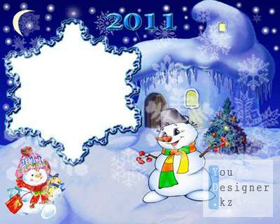 Рамка для фотошоп - Новогодняя снежинка