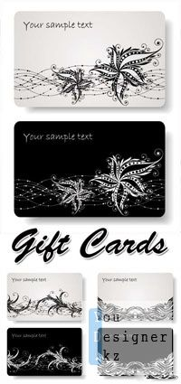 Векторные визитки - Black White Gift Cards Vector