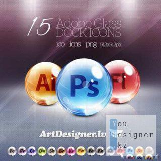 15 стеклянных программных иконок / Adobe Glass 15 icons Artdesigner