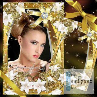 Цветочная рамка - Золотые лилии