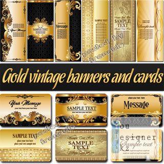 Золотые винтажные баннеры и визитные карточки / Gold vintage banners and business cards