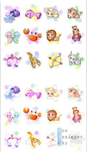 Набор Детских Иконок Знаков Зодиака / Set Of Children's Icons Signs Of The Zodiac