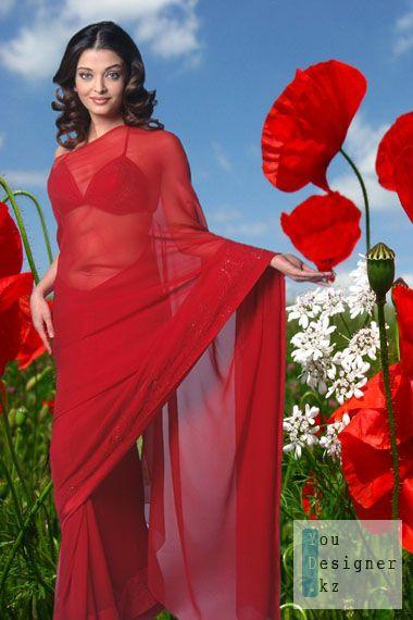 Шаблон для фотошопа-Девушка в красных маках