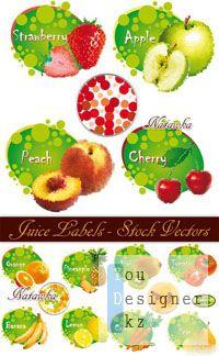 Векторный сток: Фруктовые этикетки / Juice Labels - Stock Vectors