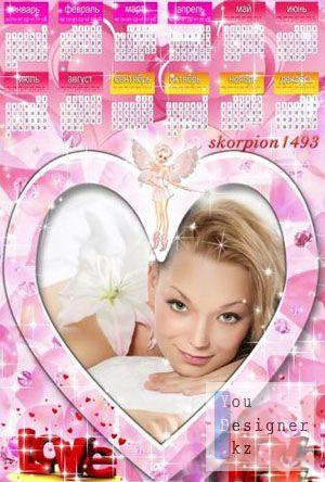 Календарь на 2011 год в розовых тонах