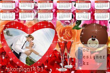 Романтический календарь на 2011 год с мишкой