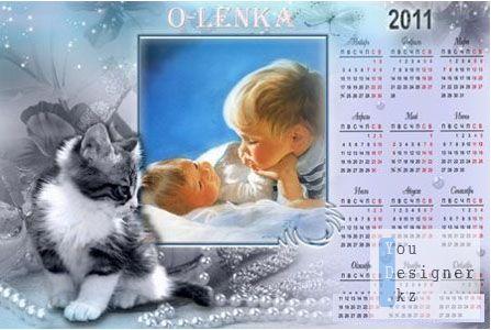 Календарь с милым котёнком 2011 год для фотошопа