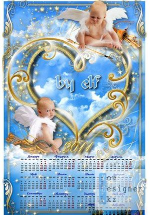 Календарь с вырезом для фото - Купидончик
