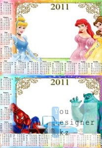 Детские календарики на 2011г. для фотошопа