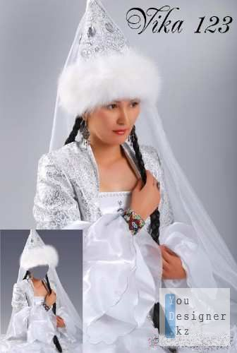 Template for photoshop - Kazakh national costume