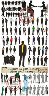 Silhouettes of businesspeople. Men and women. Vector