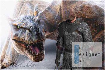 Шаблон для фотомонтажа - Рыцарь и дракон / Template for photomontage - Knight and dragon