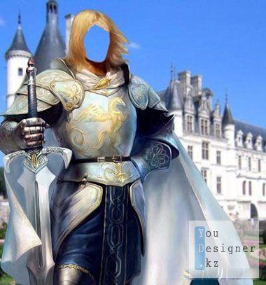 Шаблон для фотомонтажа - Рыцарь на фоне замка / Template for photomontage - Knight on background of castle