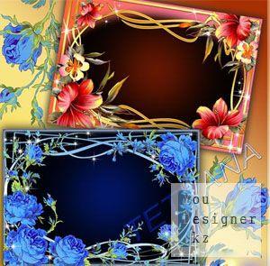 Красочные рамки для фотошоп - Цветочные узоры
