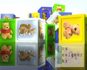 Кубики с изображениями животных. Проезд камеры
