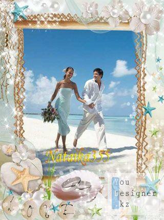 Фоторамка для свадебного фото с морскими элементами лазурного моря