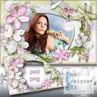Рамка для фото - Фонарик в цветах