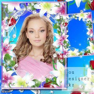 Цветочная рамка для фотошопа – Лилии и розы